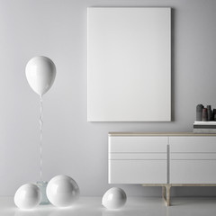 white poster with balloons, 3d illustration