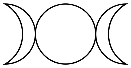 Religious sign. Wicca and Neopaganism. Triple Goddess. Vector