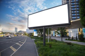 Banner billboard mockup for advertising in city useful for design