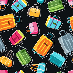 Vector seamless black pattern with multicolor luggage, suitcase, bags. Hand drawn doodle illustration. Trendy design for fashion textile print, wrapping, summer travel and tourism background.