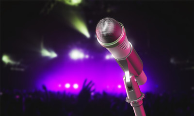 Microphone on stage during a music concert