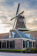 Tradirional Dutch mill in Ede, Gelderland, Netherlands