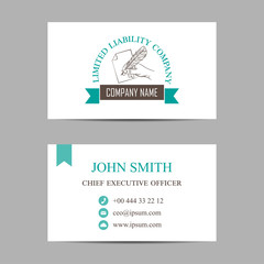 vector template of a business card with hand holding feather