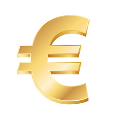 vector illustration of a golden euro sign on white background