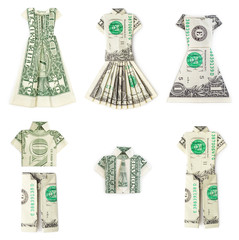 Dollar origami clothes isolated