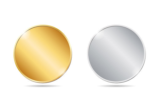 vector illustration of two golden and silver blank coins