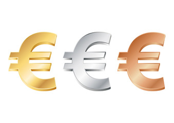 vector illustration of euro sign in gold, silver and bronze