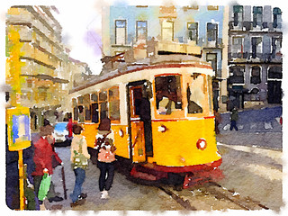 Digital watercolor painting of a traditional vintage yellow tram in Lisbon, Portugal, at a stop with passengers getting on the tram.