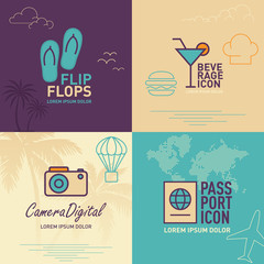 Flip-flops flat icon, beverages flat icon, digital camera flat icon and passport flat icon / vector illustration eps-10.