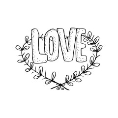 Floral doodle heart frame in decorative style with Love lettering.