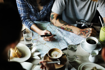 Camping Coffee Planning Map Direction Concept