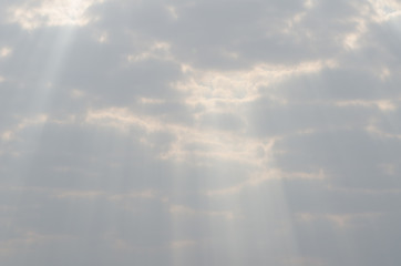 .Morning sky Clouds obscured the sun Light shining through the s