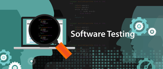 software testing looking closer close-up to the source code script to find bug