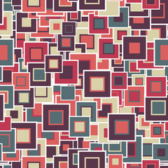 Geometric seamless pattern. The multicolored squares of different sizes, are located in a chaotic manner. Useful as design element for texture, pattern and artistic compositions.