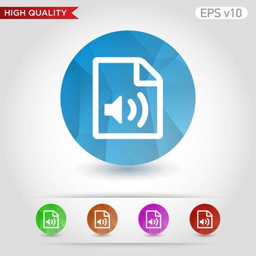 Audio file icon. Button with audio file icon. Modern UI vector.