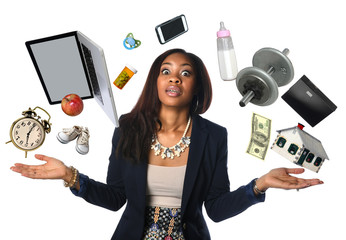 African American Businesswoman Juggling Wall mural