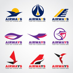 Airway logo (bird and airplane flying) vector set design