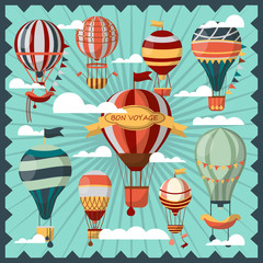 Bon Voyage Air Balloons in Clouds Collection.