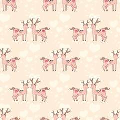 Couple of deer with hearts . Valentine's Day seamless pattern.