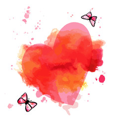 Vector and watercolor ink heart with butterflies, Valentine desi