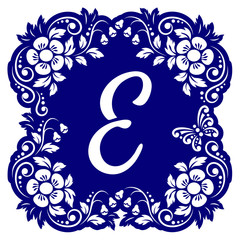 Laser cutting template alphabet. Openwork card with flowers, leaves, buds, swirls, butterfly. Carved edges and letter E in middle. 1:1 ratio, square size 15*15 sm default. Vector illustration.