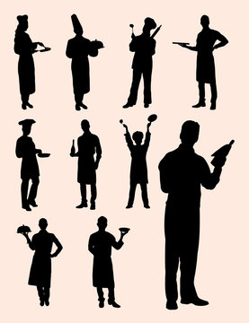Chef, waiter, waitress silhouette. Good use for symbol, logo, mascot, web icon, sign, or any design you want.