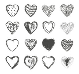 Valentines day hearts set vector. Hand drawn black and white love symbol collection