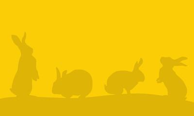 Background of easter bunny landscape