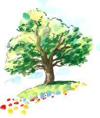 Old oak tree in the summer field