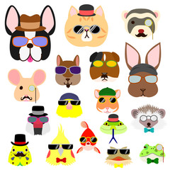 hipster pet animals faces set