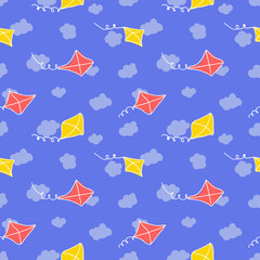 Seamless pattern with kite and sky. Funny summer background.