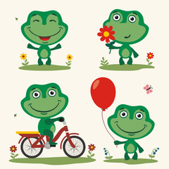 Vector set funny frog play on meadow. Collection isolated frog on bicycle, with balloon and flower in cartoon style.