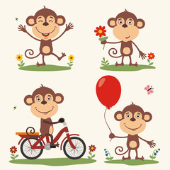 Vector set funny monkey play on meadow. Collection isolated monkey on bicycle, with balloon and flower in cartoon style.