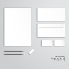 Vector corporate identity templates.  Letterhead, envelope, business card, pencils, eraser.