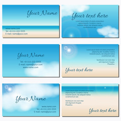 Set of six horizontal business cards.  Sky, clouds, sunshine and sandy beach. Complied with the standard sizes.
