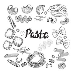 hand drawn set pasta collection