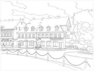 House of the nineteenth century on the central square of a small cozy town in Europe. Black and white vector illustration.