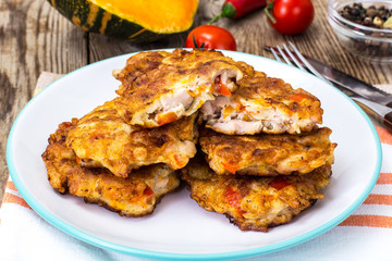 Vegetable cutlets with chicken, peppers and pumpkin