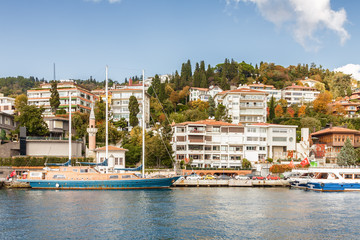 Beautiful yachts at the pier of luxury district near Bosphorus, Istanbul, Turkey