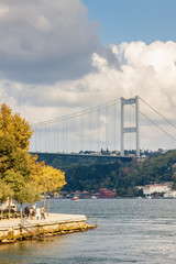 Sunny view from pleasure boat to Bosphorus, Istanbul, Turkey.
