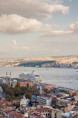 Sunset view from Galata tower to Golden Horn, Istanbul, Turkey.