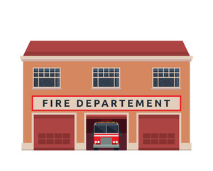 Modern Flat Commercial Government Office Building, Suitable for Diagrams, Infographics, Illustration, And Other Graphic Related Assets -    Fire Department