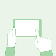 Man holding tablet in hands. Blank touchscreen. Finger touches screen. Banner web, mobile app. Vector illustration flat minimal design.