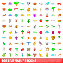 100 live nature icons set, cartoon style