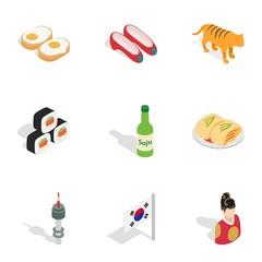 Symbols of South Korea icons, isometric 3d style