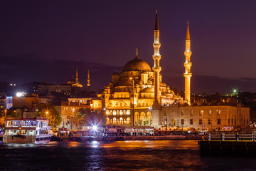 Night view of mesque near Borphorus and Galata bridge, Istanbul, Turkey.