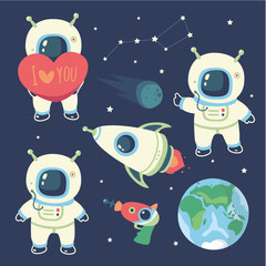 vector cartoon style cosmonaut  set