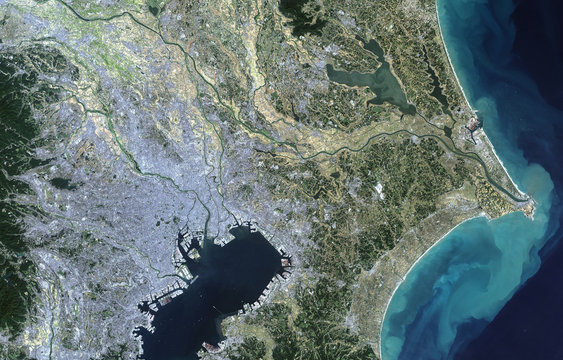 Tokyo from Landsat satellite. Elements of this image furnished by NASA
