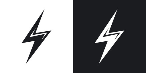 Vector lightning icon. Two-tone version on black and white background