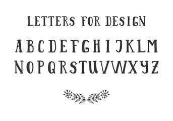 Serif hand drawn font. Vector. Isolated